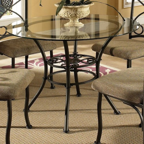 Steve Silver Brookfield Round Table with Tempered Glass Top
