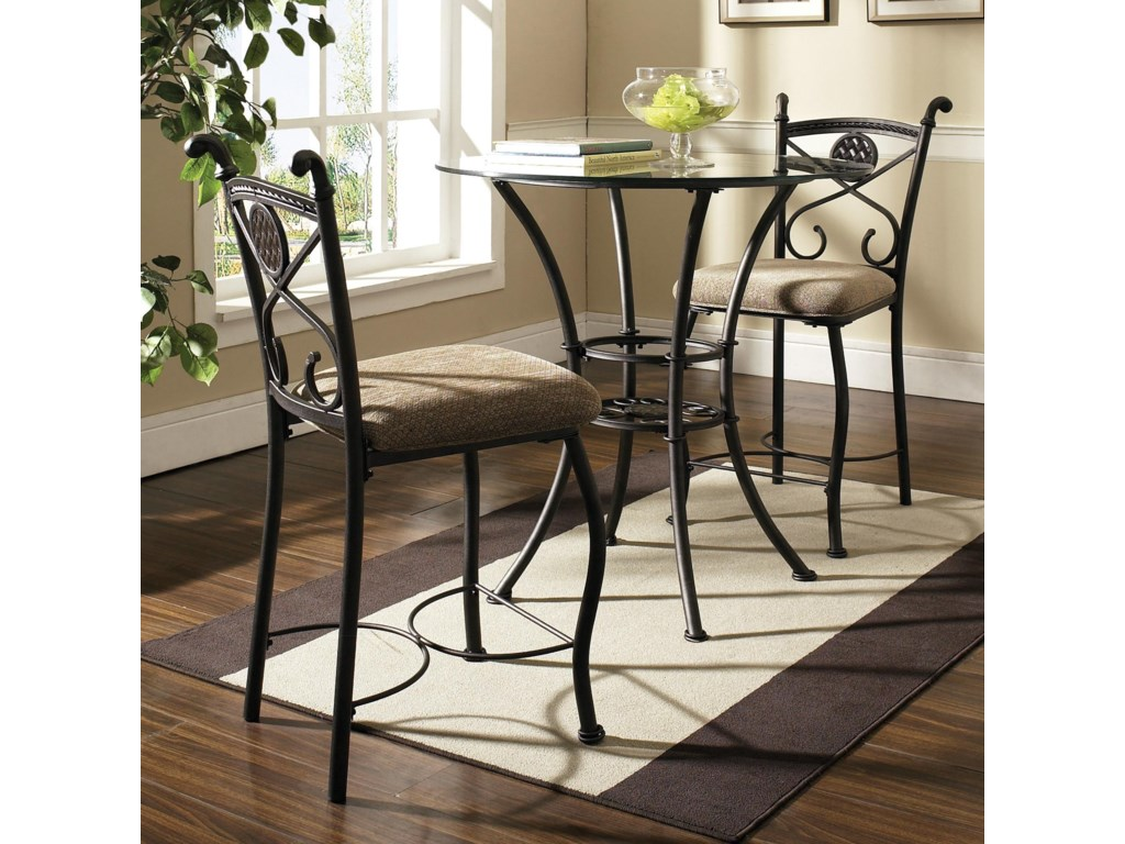 Steve Silver BrookfieldRound Glass Top Pub Table & 2 Counter Chairs
