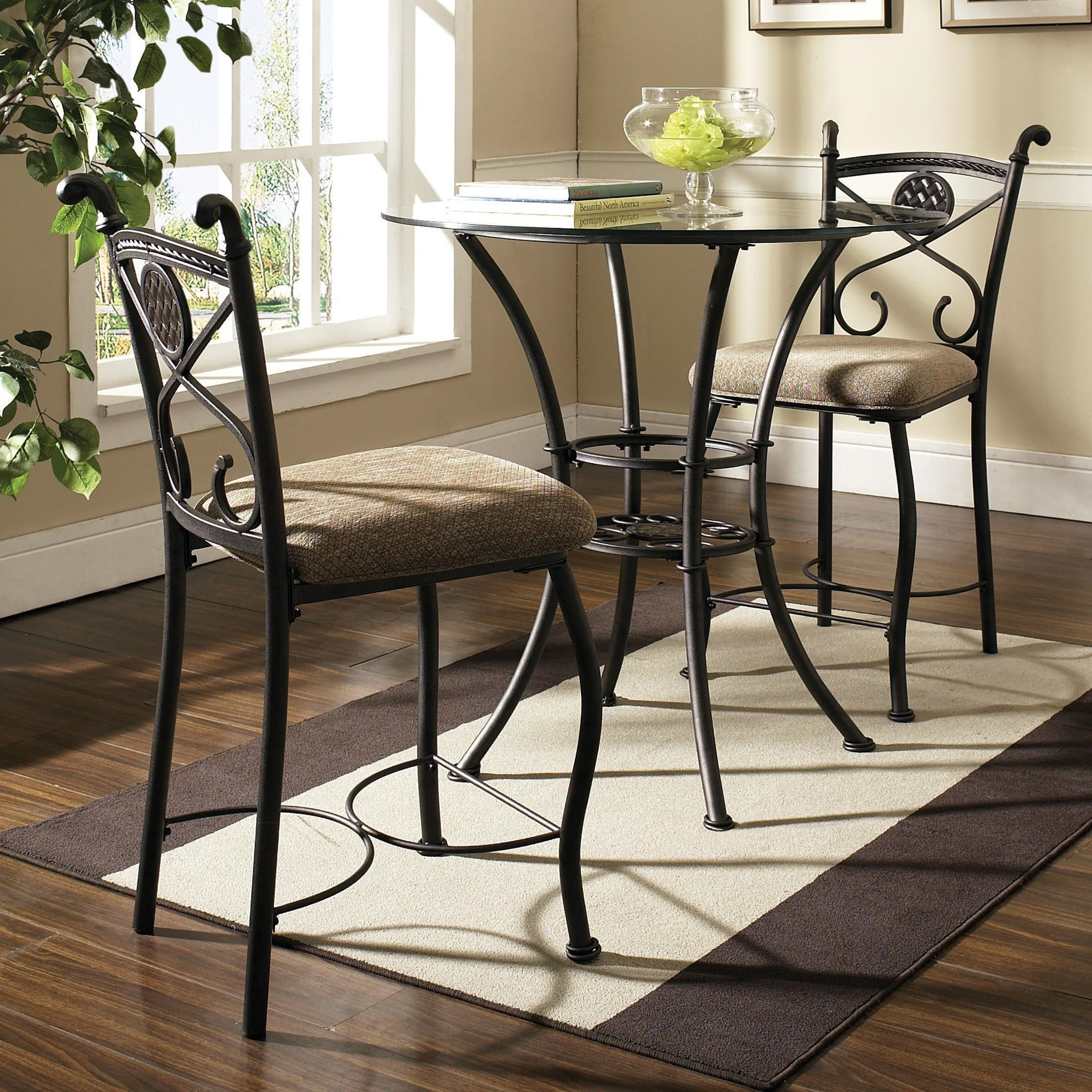 Steve Silver BrookfieldRound Glass Top Pub Table U0026 2 Counter Chairs ...