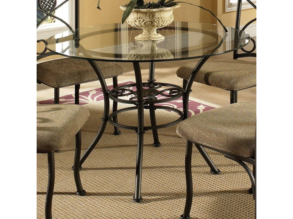 Steve silver brookfield round glass top dining table 4 side steve silver brookfield stev grp bk420x tbl4 round glass top dining table 4 side chairs geotapseo Gallery