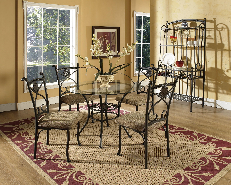 Steve Silver Brookfield STEV GRP BK420X TBLu00264 Round Glass Top Dining Table  U0026 4 Side Chairs
