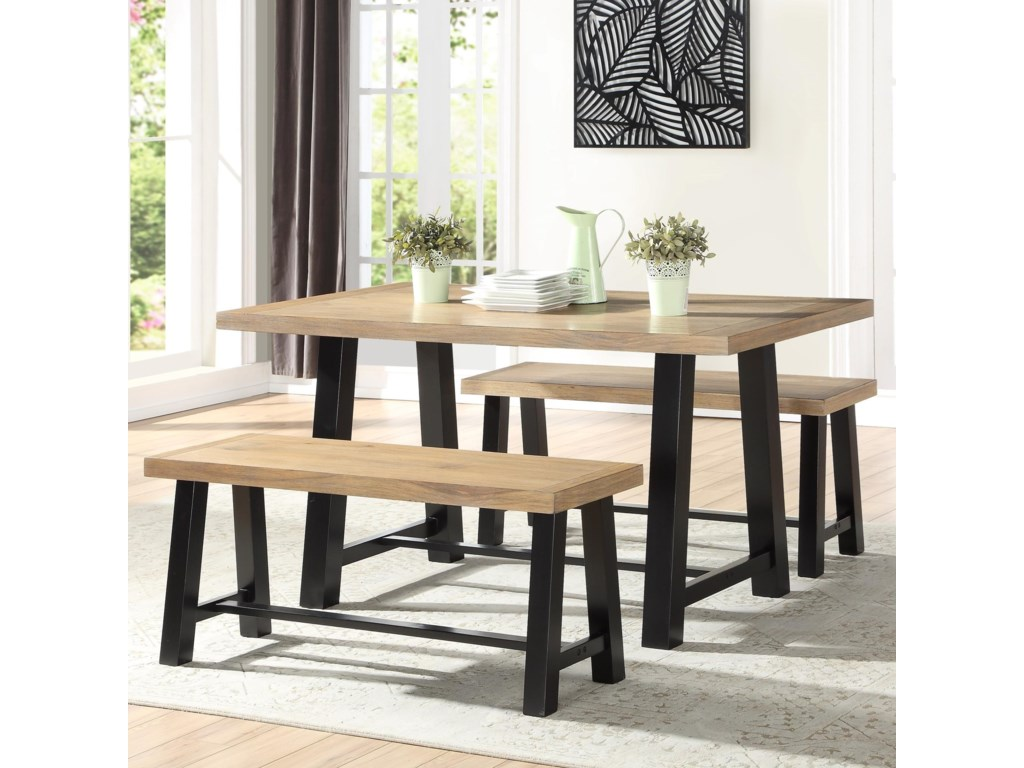 Burnell Dining Table with 2 Benches