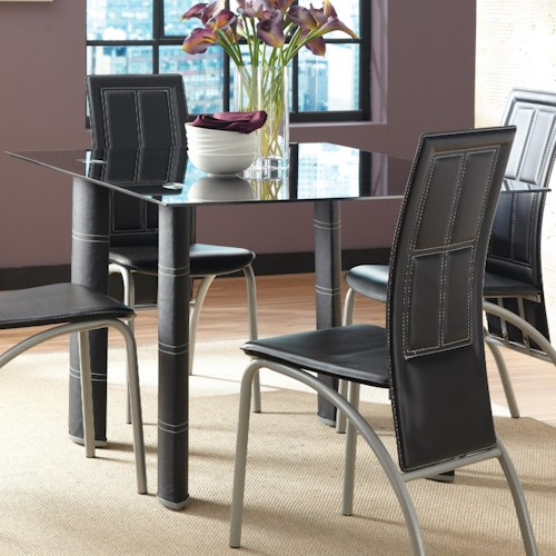 Steve Silver Calvin Dining Table with Tempered Glass Top