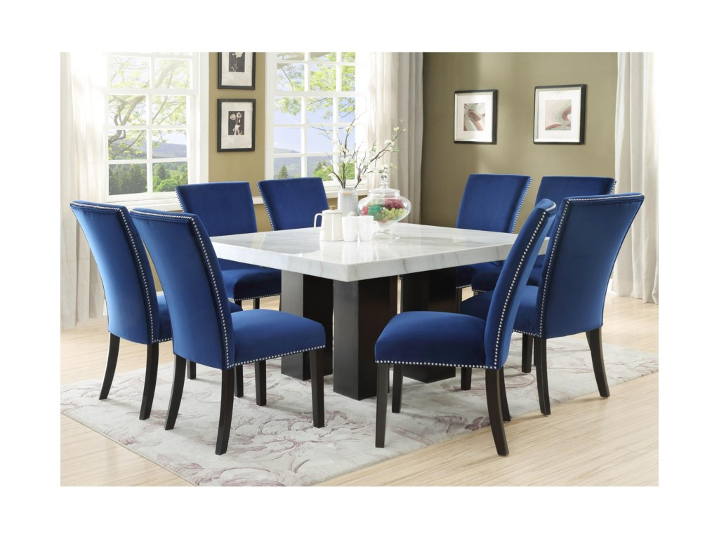 Camila 9 Piece Dining Set with Marble Table Top by Steve Silver at Wayside  Furniture