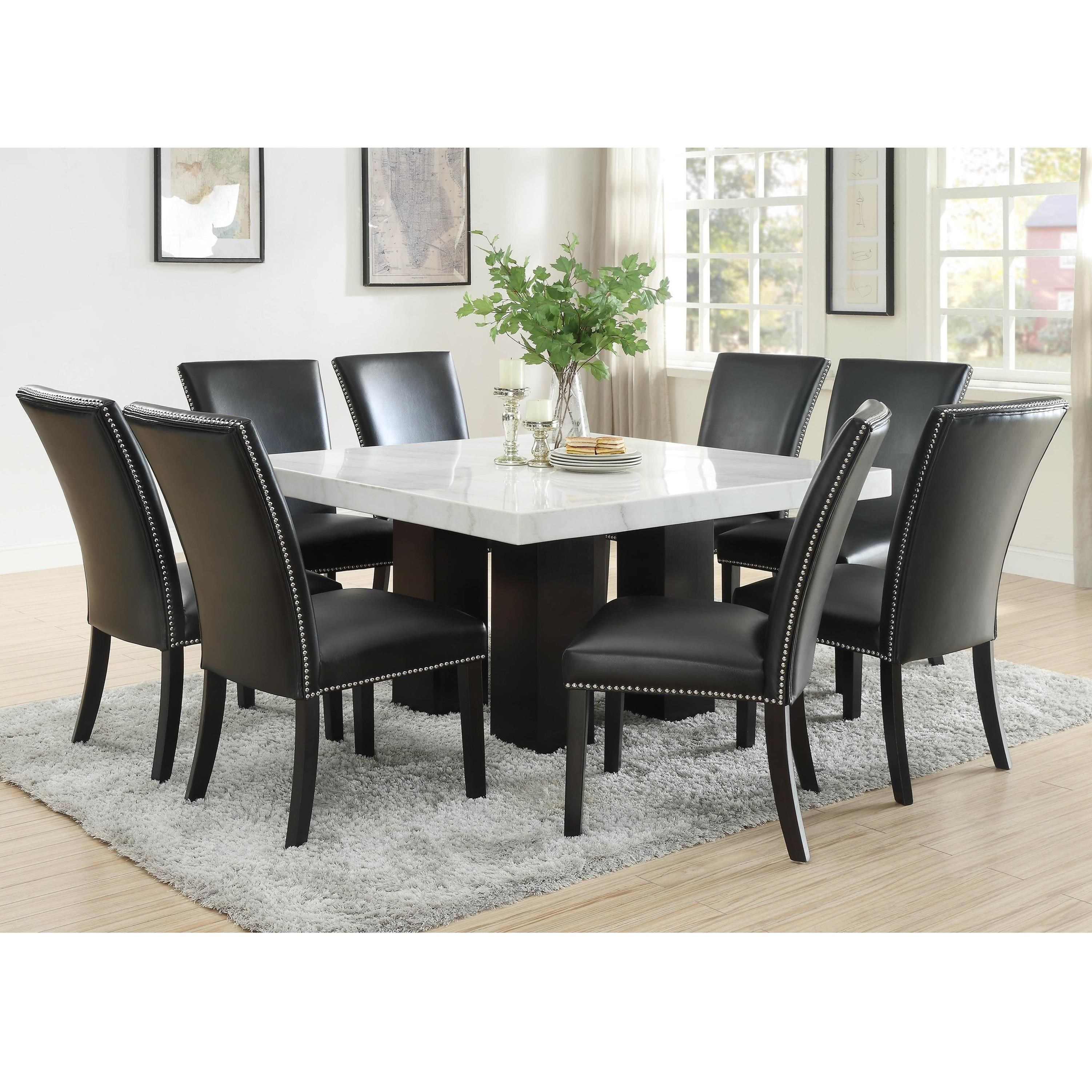 steve silver camila 9 piece dining set with marble table top rh wayside furniture com