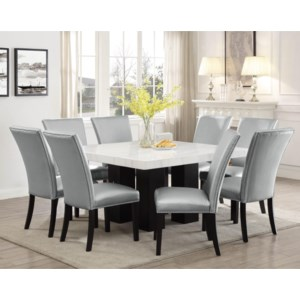 Steve Silver Camila Cm420wb 540pt 8xssn 9 Piece Dining Set With Marble Table Top Northeast Factory Direct Dining 7 Or More Piece Sets