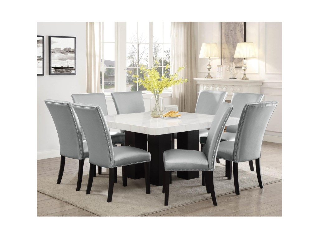 Camila 9 Piece Dining Set With Marble Table Top By Vendor 3985 At Becker Furniture World