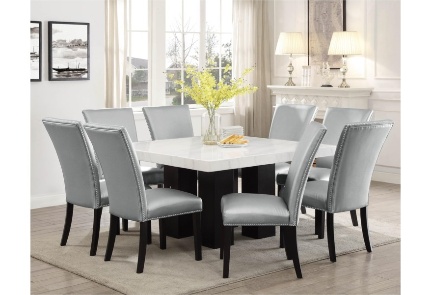 Steve Silver Camila 9 Piece Dining Set With Marble Table Top Standard Furniture Dining 7 Or More Piece Sets