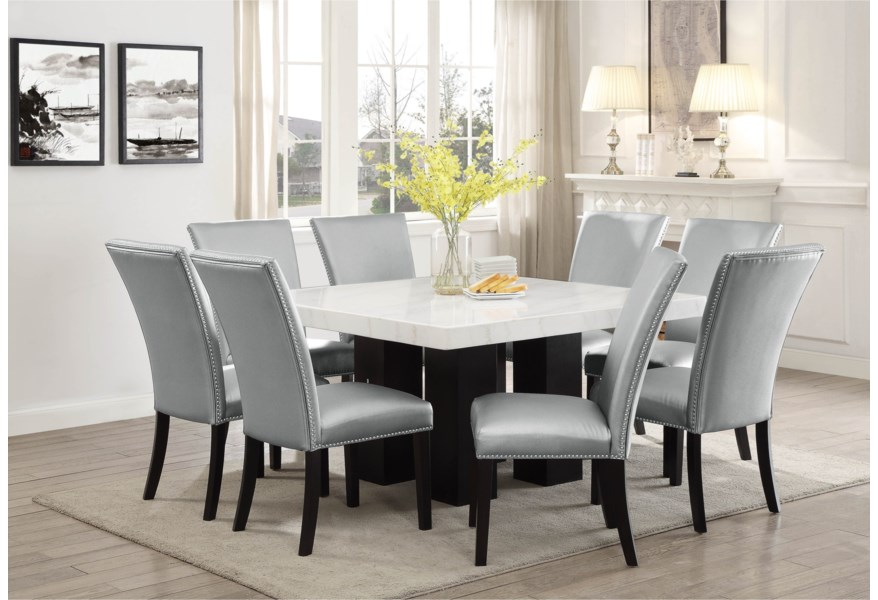 Steve Silver Camila Square Marble Top Dining Table Standard Furniture Dining Tables
