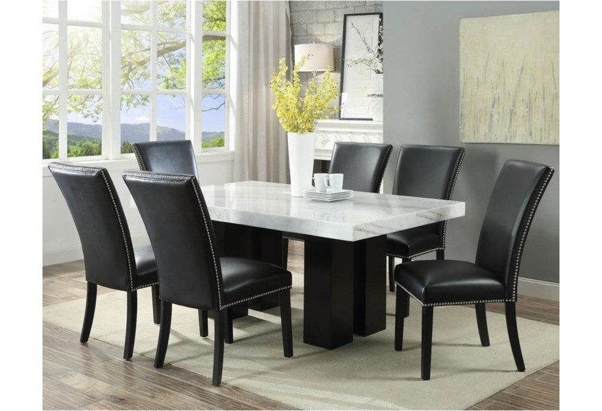 Steve Silver Camila Cm420wb Wt 6xskn 7 Piece Dining Set With Marble Table Top O Dunk O Bright Furniture Dining 7 Or More Piece Sets