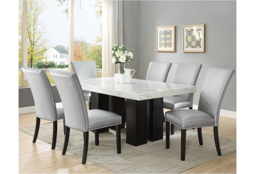 Steve Silver Camila 7 Piece Dining Set With Marble Table Top Standard Furniture Dining 7 Or More Piece Sets