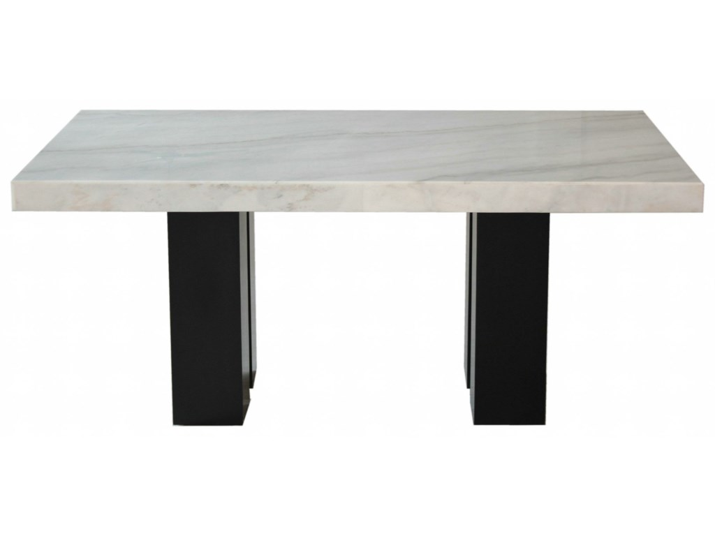 Prime Camila Rectangular White Marble Dining Table Prime Brothers