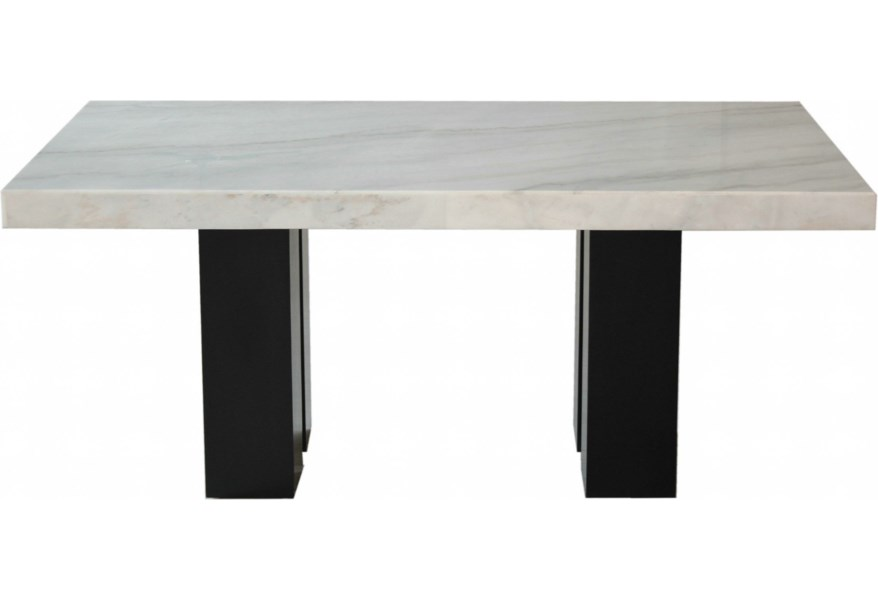 Steve Silver Camila Cm420wb Wt Rectangular White Marble Dining Table Dunk Bright Furniture Dining Tables