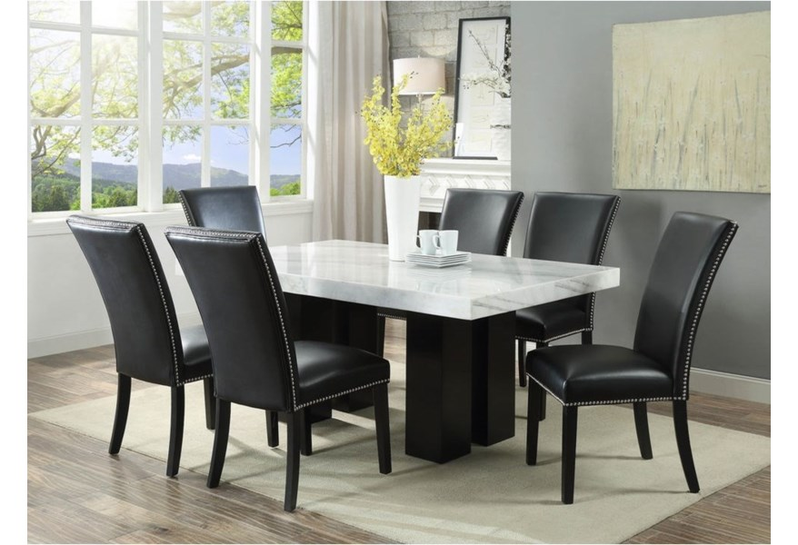 Steve Silver Camila Rectangular White Marble Dining Table Wayside Furniture Dining Tables