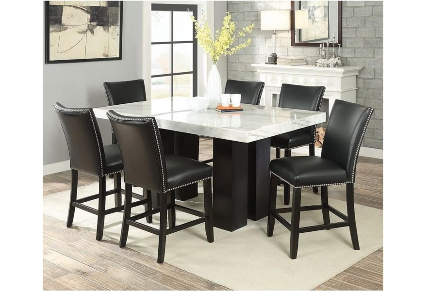 Steve Silver Camila Cm540pb 420wt 6xcckn 7 Piece Counter Height Dining Set With Marble Table Top Northeast Factory Direct Pub Table And Stool Sets