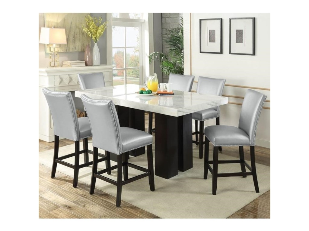 Steve Silver Camila 7 Piece Counter Height Dining Set With Marble Table Top