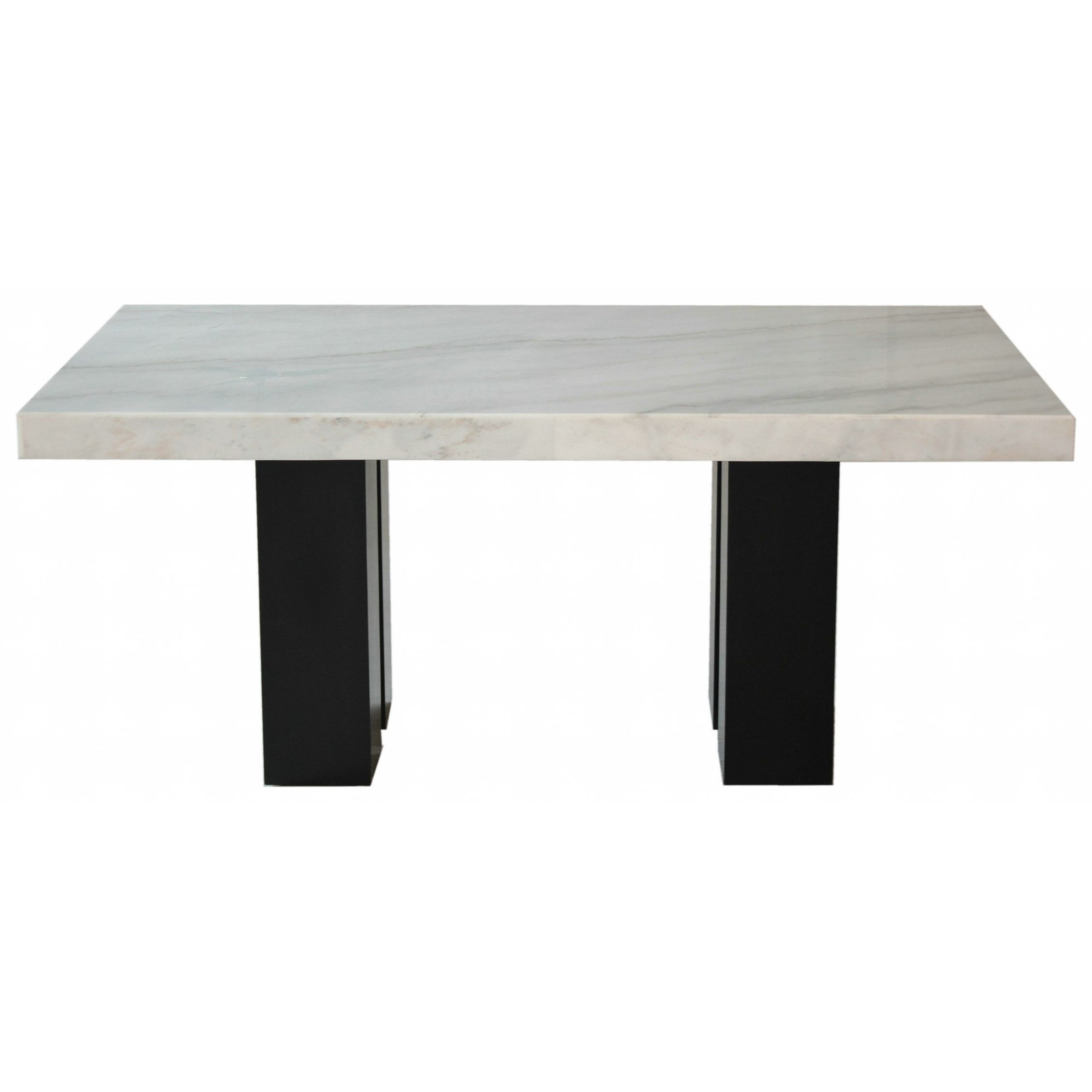 Rectangular White Marble Counter Height Dining Table