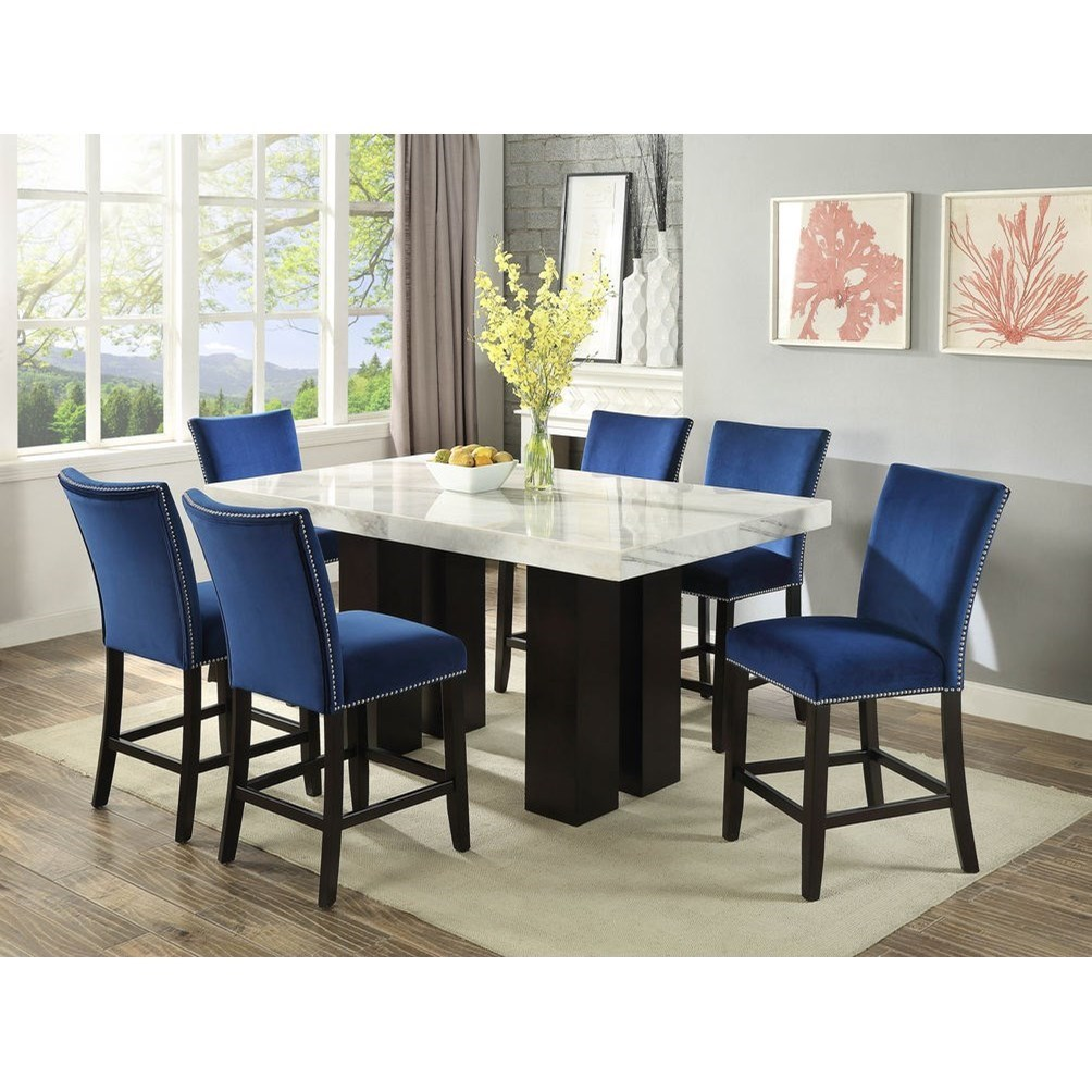 Picture of: Steve Silver Camila Rectangular White Marble Counter Height Dining Table Wayside Furniture Pub Tables