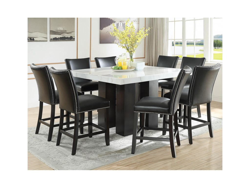 Prime Camila 9 Piece Counter Height Dining Set With Marble Top