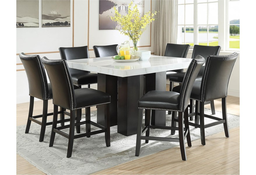 Steve Silver Camila 9 Piece Counter Height Dining Set With Marble