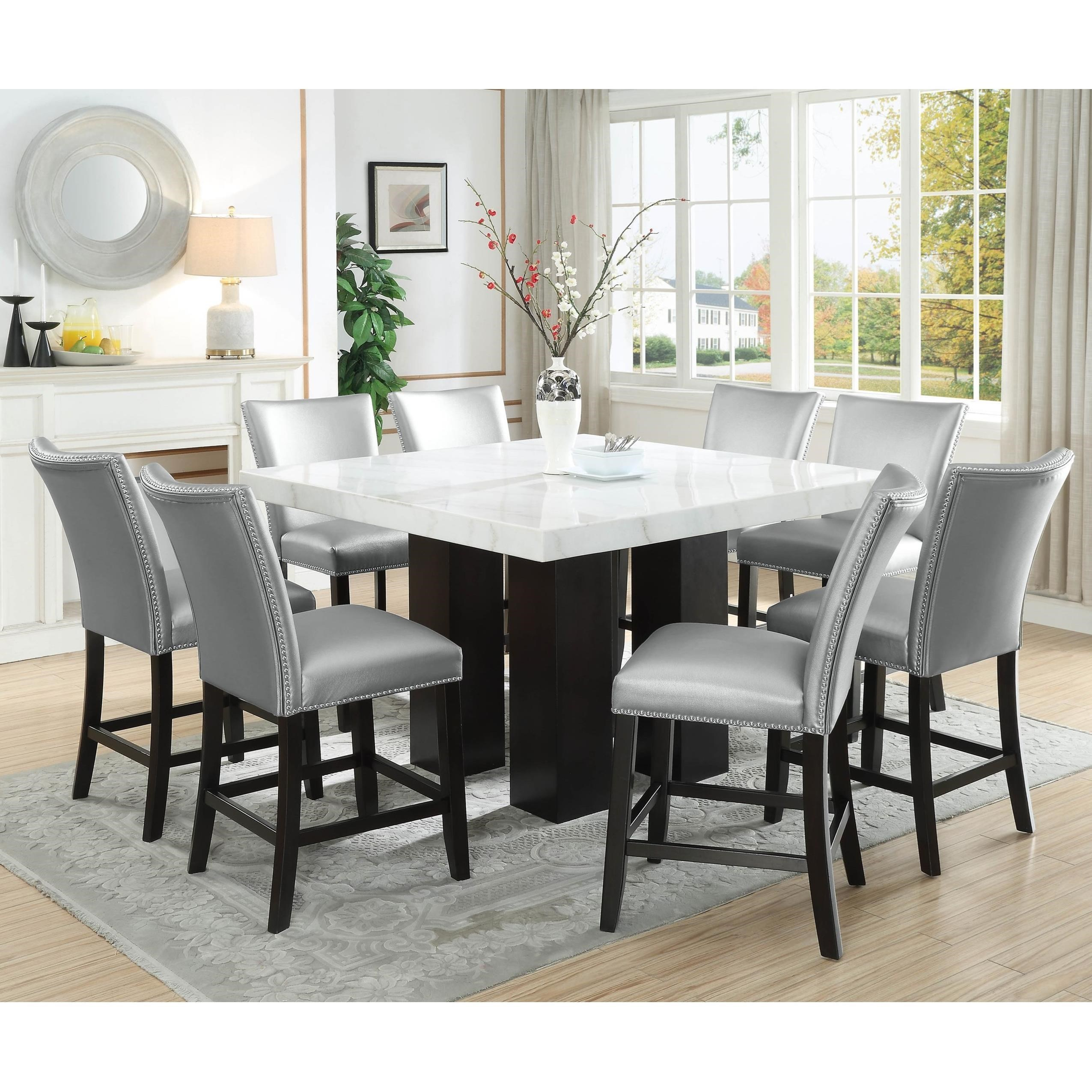 9 Piece Counter Height Dining Set with Marble Top