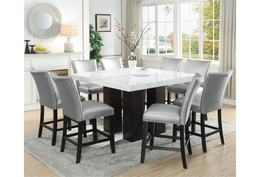 Steve Silver Camila 9 Piece Counter Height Dining Set With Marble Top Standard Furniture Pub Table And Stool Sets