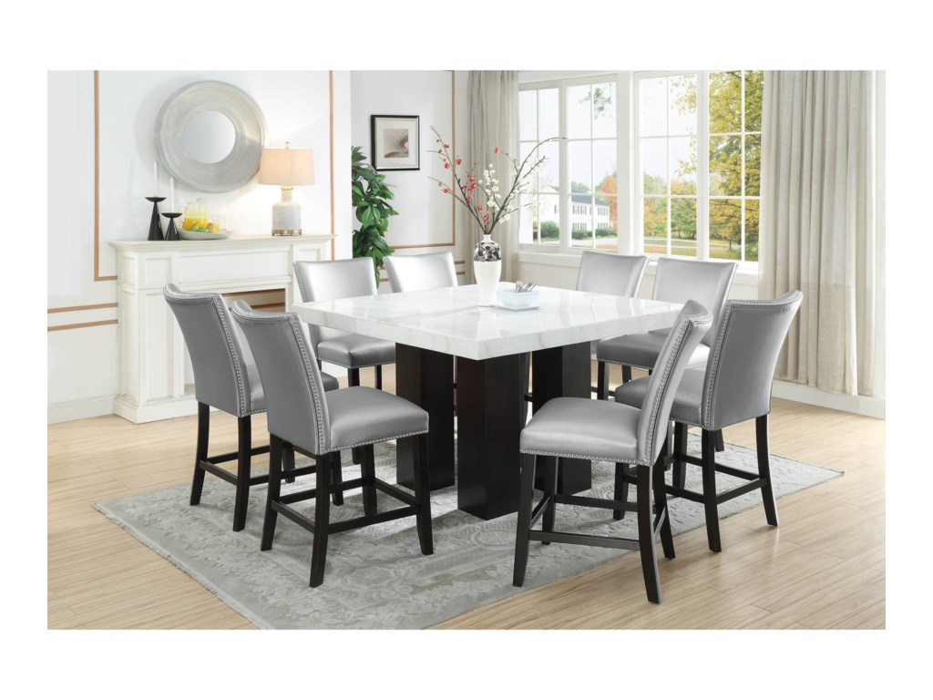 Steve Silver Camila Square White Marble Counter Height Table Wayside Furniture Pub Tables