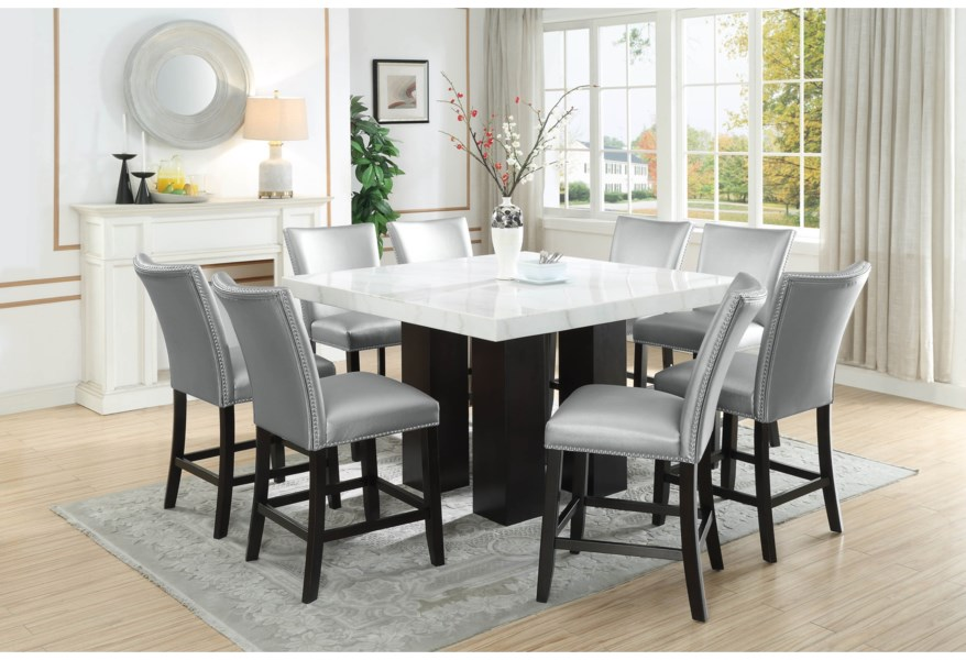 Steve Silver Camila Square White Marble Counter Height Table Standard Furniture Pub Tables