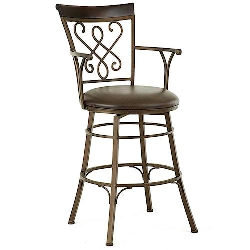 Steve Silver Carmona Jumbo Swivel Bar Chair with Armrests and Splat Design