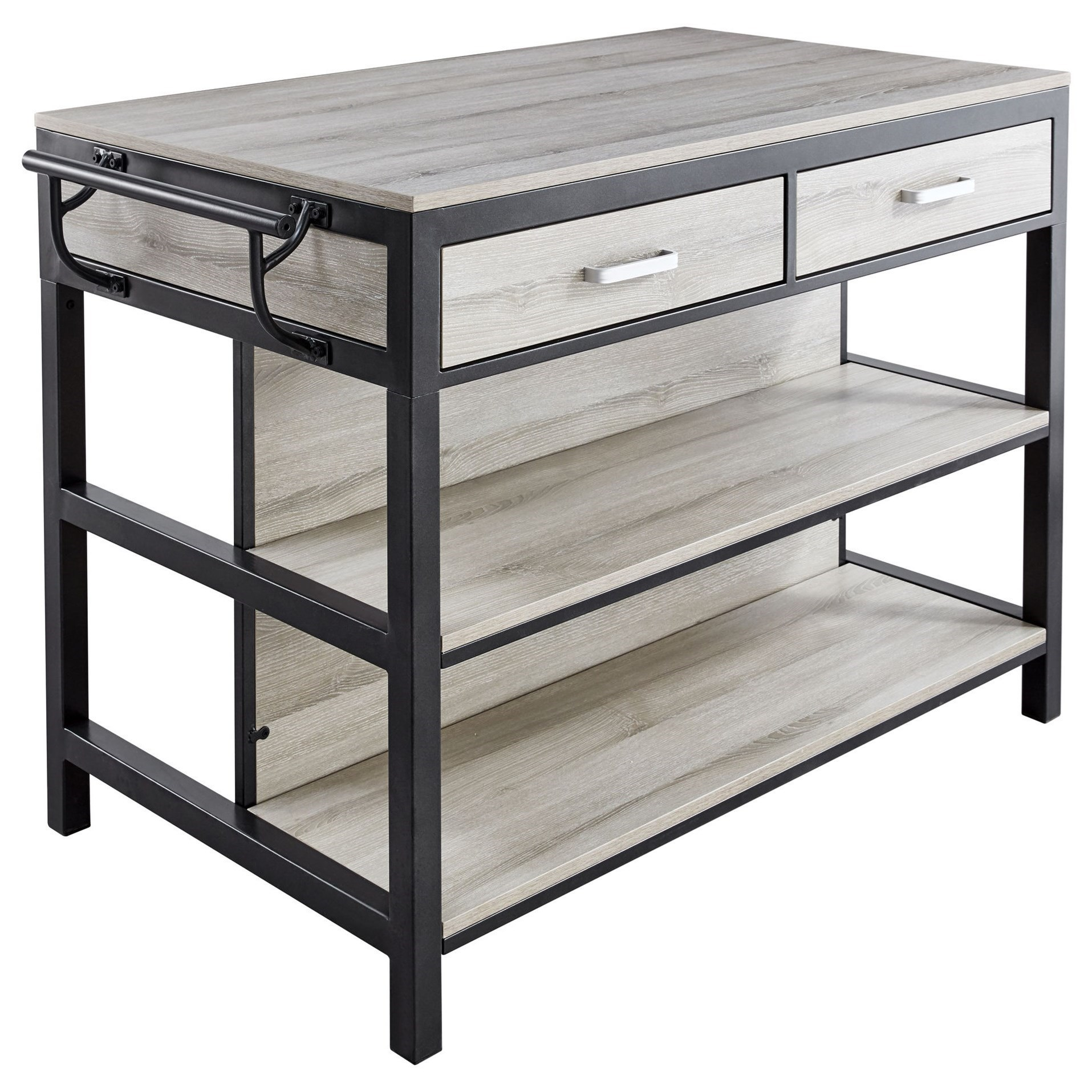 Contemporary Counter Height Kitchen Table with 2 Drawers, 2 Shelves, and Towel Racks