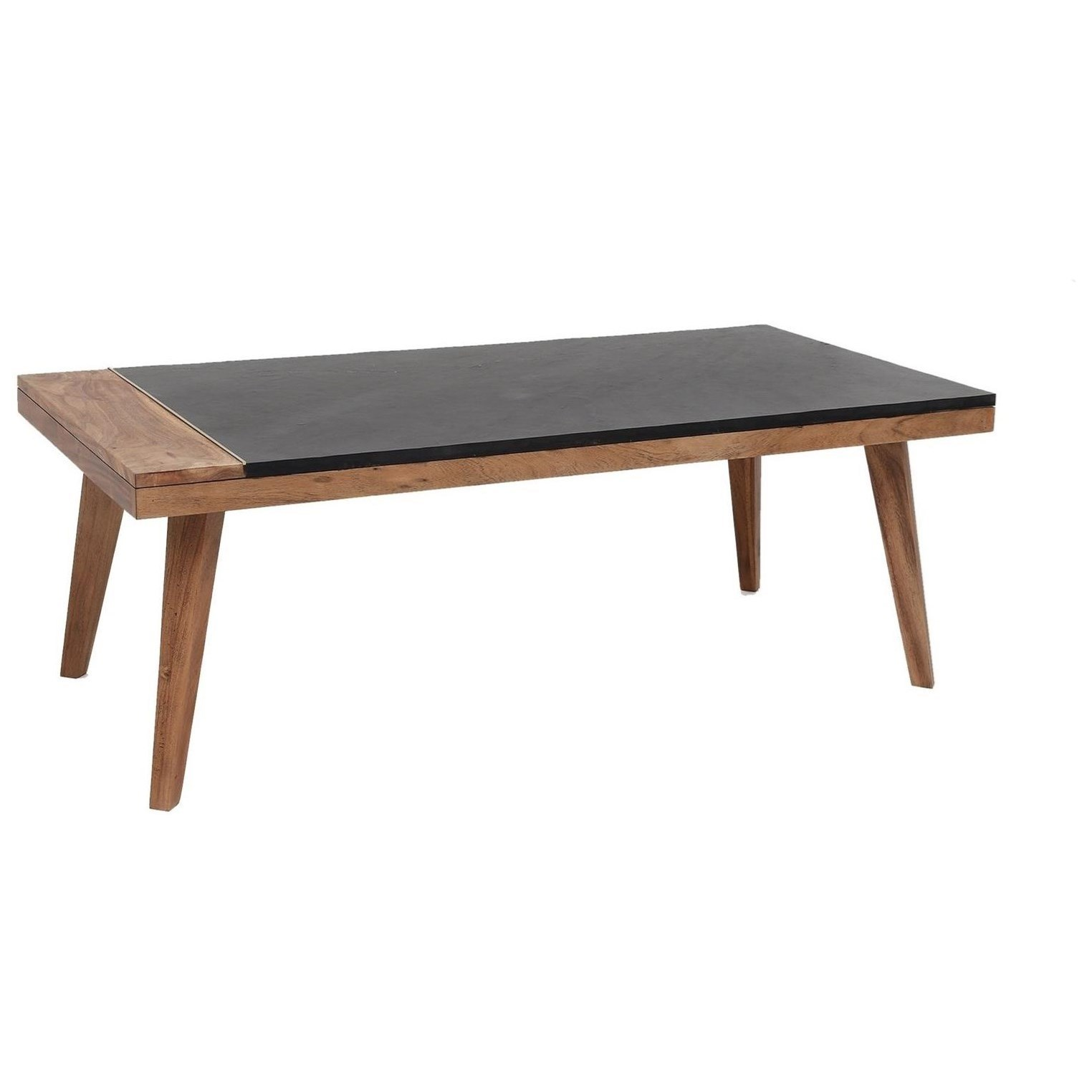 Mid-Century Modern Cocktail Table with Slate Top