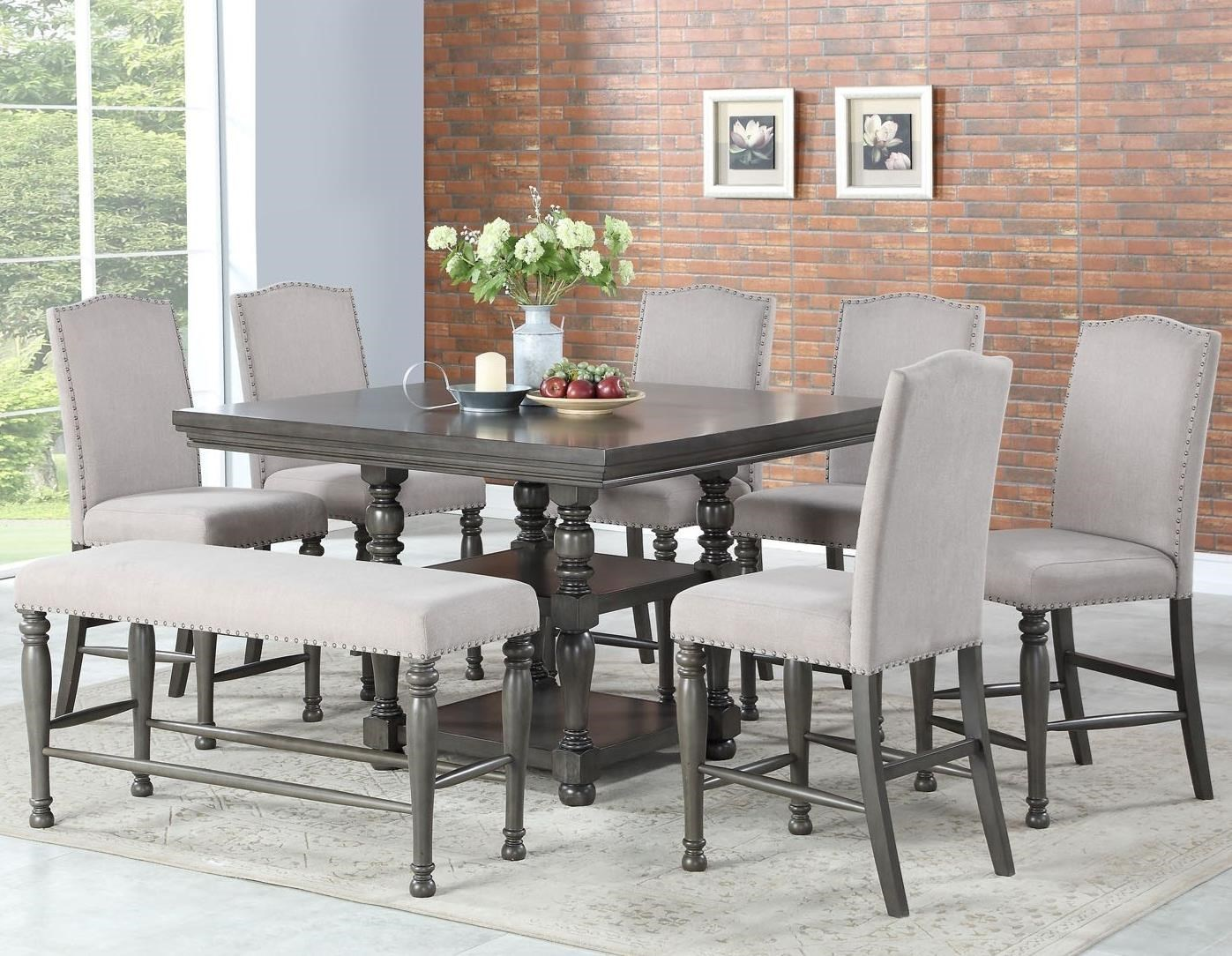 Eight Piece Traditional Counter Height Dining Set with Bench