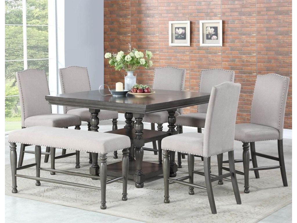 Steve Silver Caswell Eight Piece Traditional Counter Height Dining Set With Bench | Wayside Furniture | Dining 7 (or More) Piece Sets