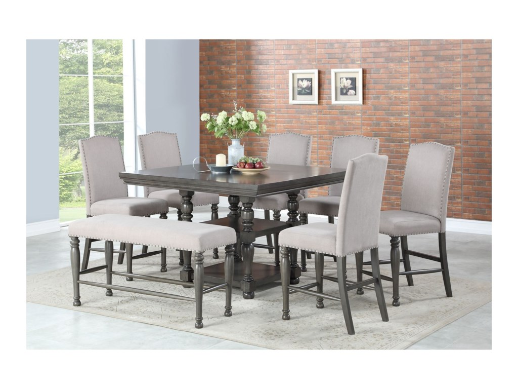 Steve Silver Caswell8 Pc Counter Dining Set w/ Bench