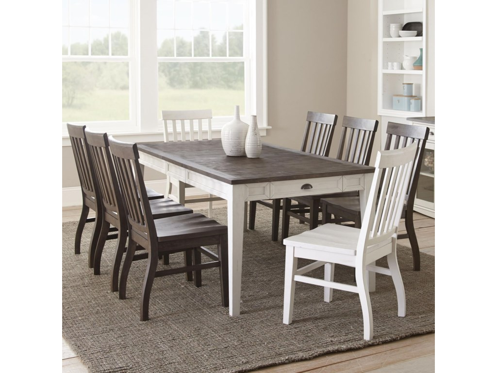 Steve Silver Cayla 9 Piece Two Tone Table And Chair Set