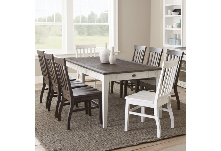 Steve Silver Cayla Cy400tkw 2x400sw 6x400sk 9 Piece Two Tone Table And Chair Set Miller Home Dining 7 Or More Piece Sets