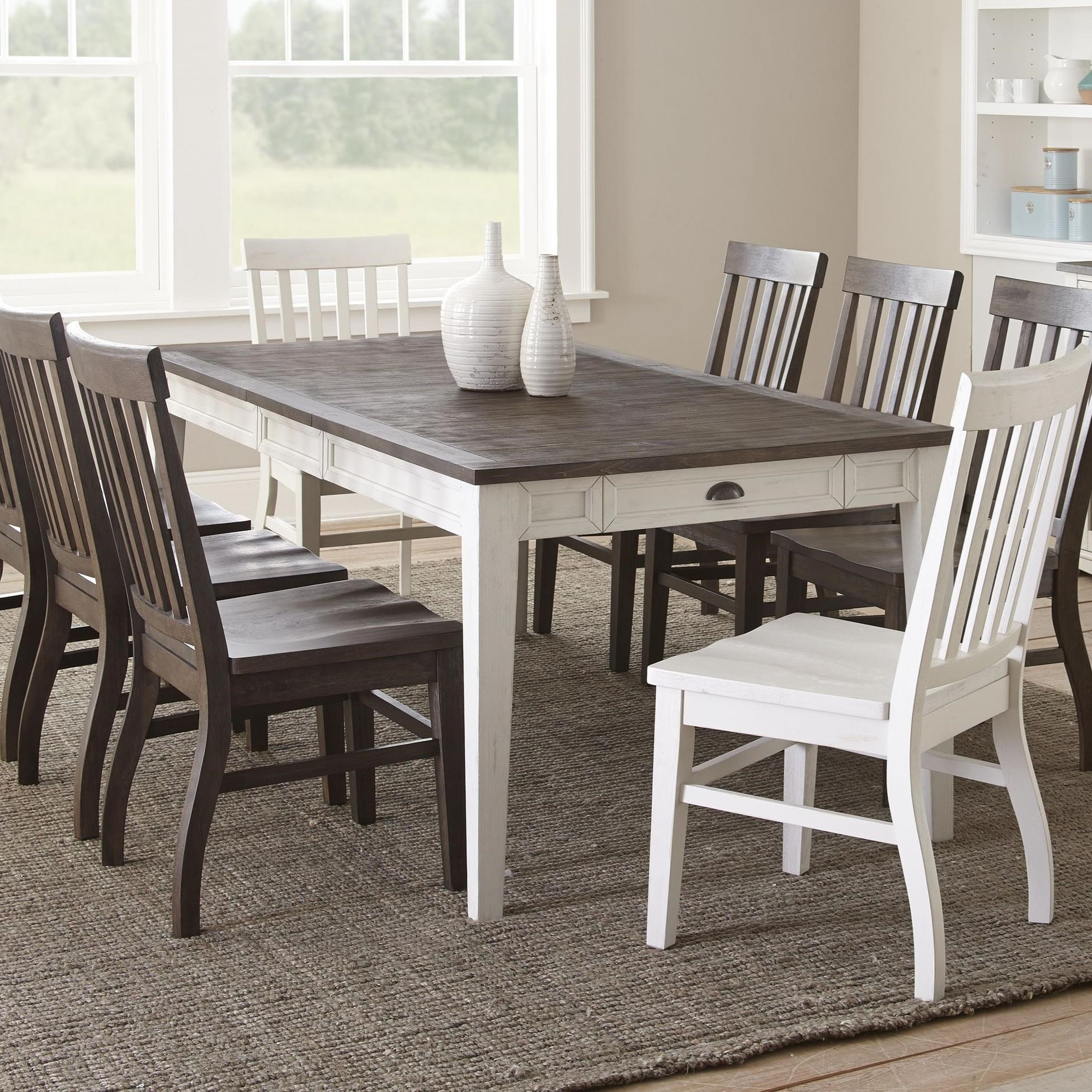 """Rectangular Two-Tone Dining Table with 16"""" Leaf"""