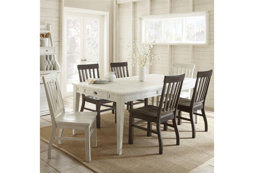 Steve Silver Cayla 7 Piece Two Tone Farmhouse Dining Set With Table Storage Walker S Furniture Dining 7 Or More Piece Sets