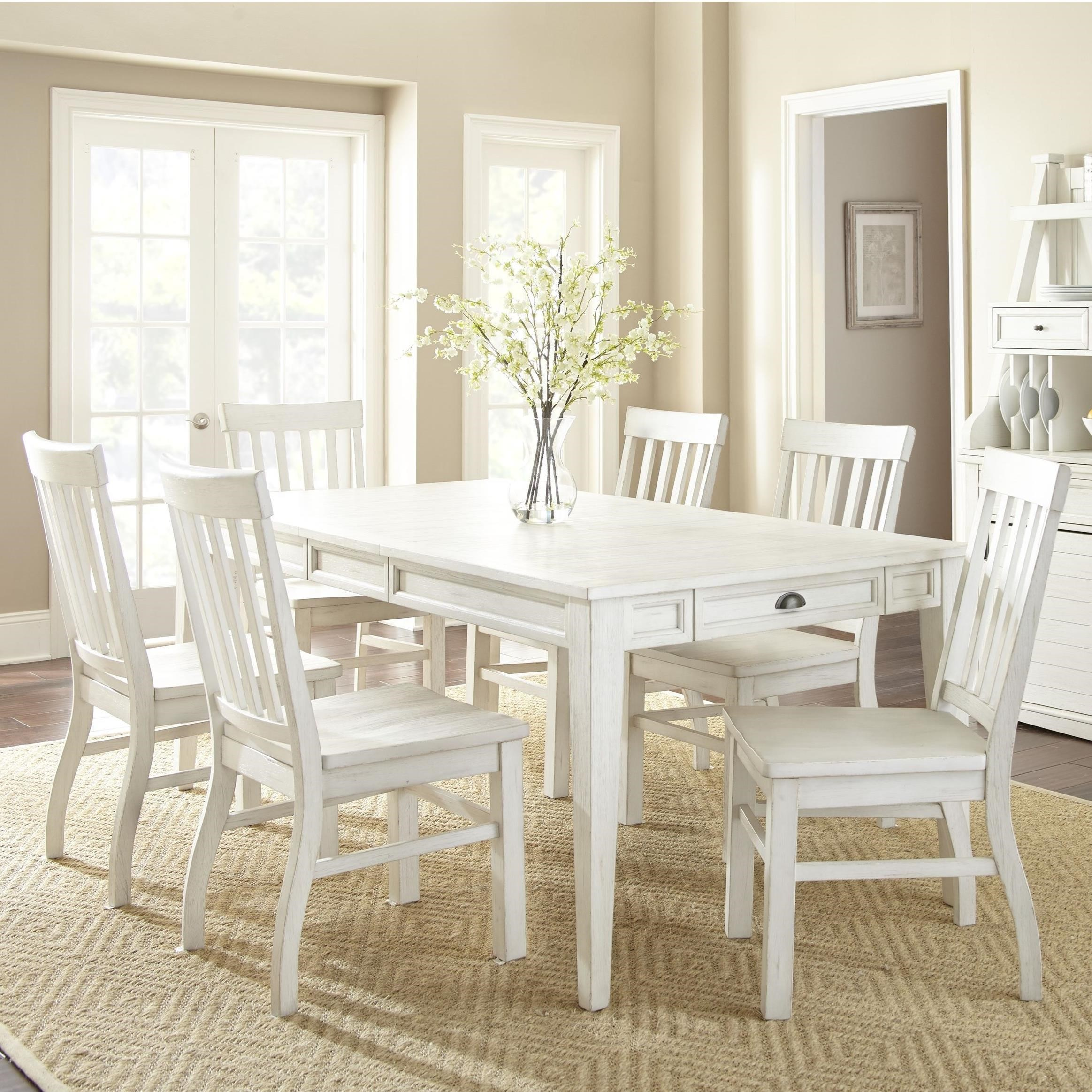 7 Piece Farmhouse Dining Set with Table Storage