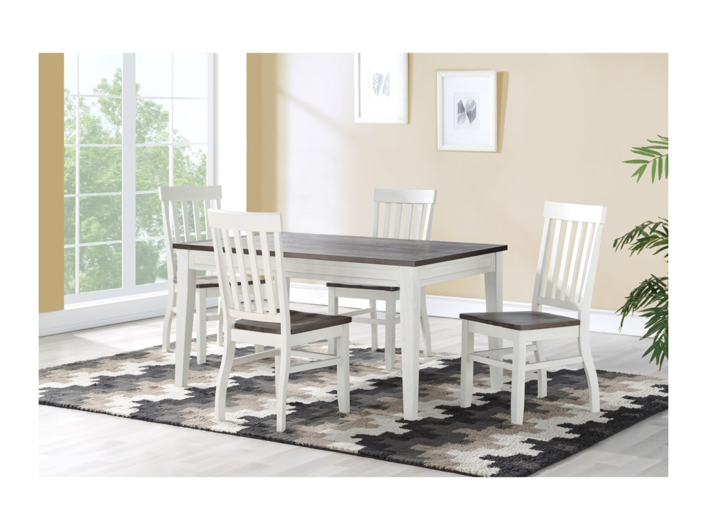 Steve Silver Caylie Rustic 5 Piece Dining Set With Plank Wood Table Wayside Furniture Dining 5 Piece Sets