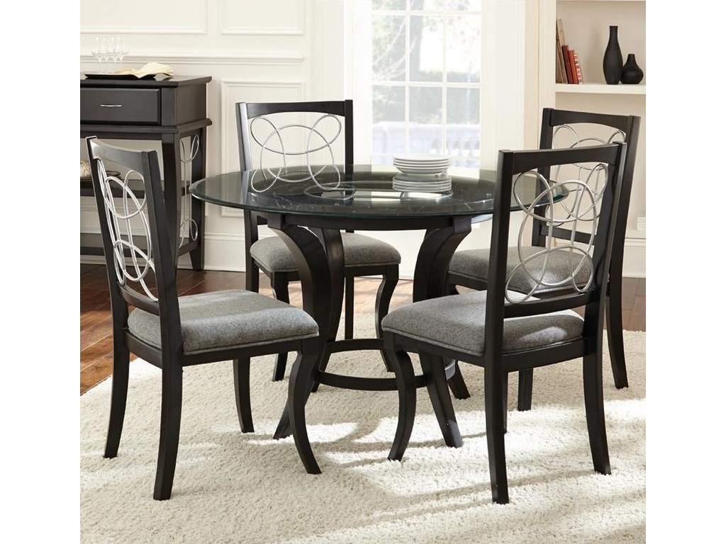 Cayman 5 Piece Glass Top Dining Set by Steve Silver at Wayside Furniture