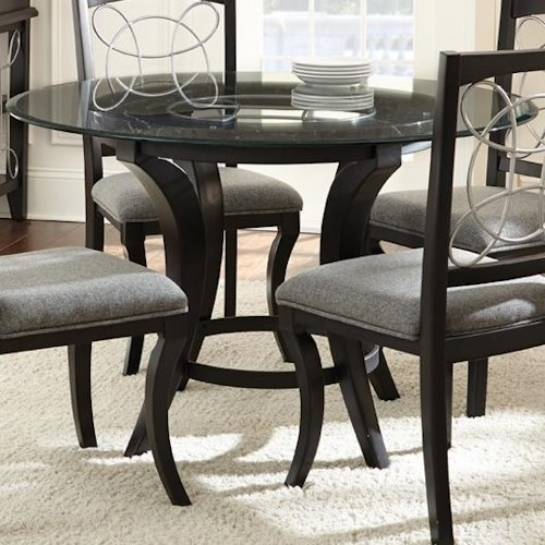 Steve Silver Cayman Round Glass Dining Table with Trestle Base