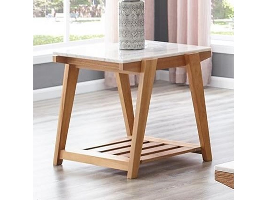 Celeste White Marble Top End Table With Lower Shelf Morris Home