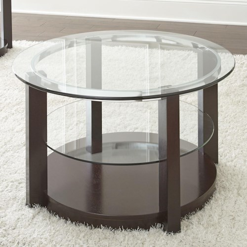 Steve Silver Cerchio Round Glass Top Cocktail Table