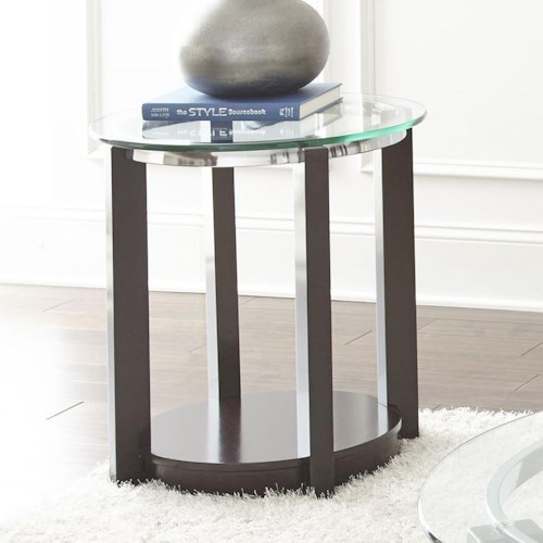 Steve Silver Cerchio Round Glass Top End Table