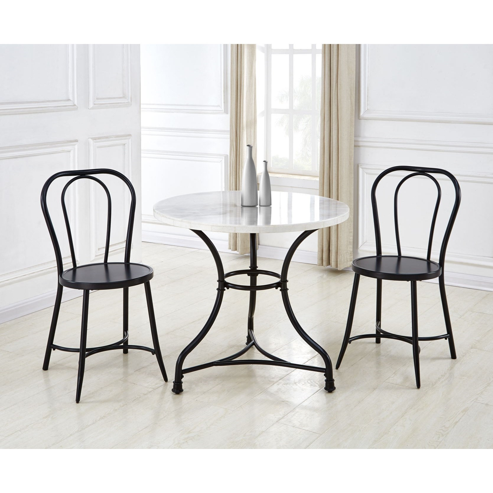 Contemporary 3-Piece Bistro Table and Chair Set with White Marble Top