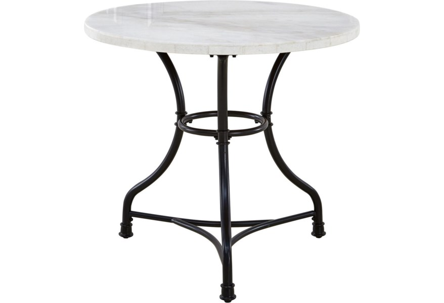 Belfort Essentials Claire Contemporary Round Bistro Table With White Marble Top Belfort Furniture Dining Tables