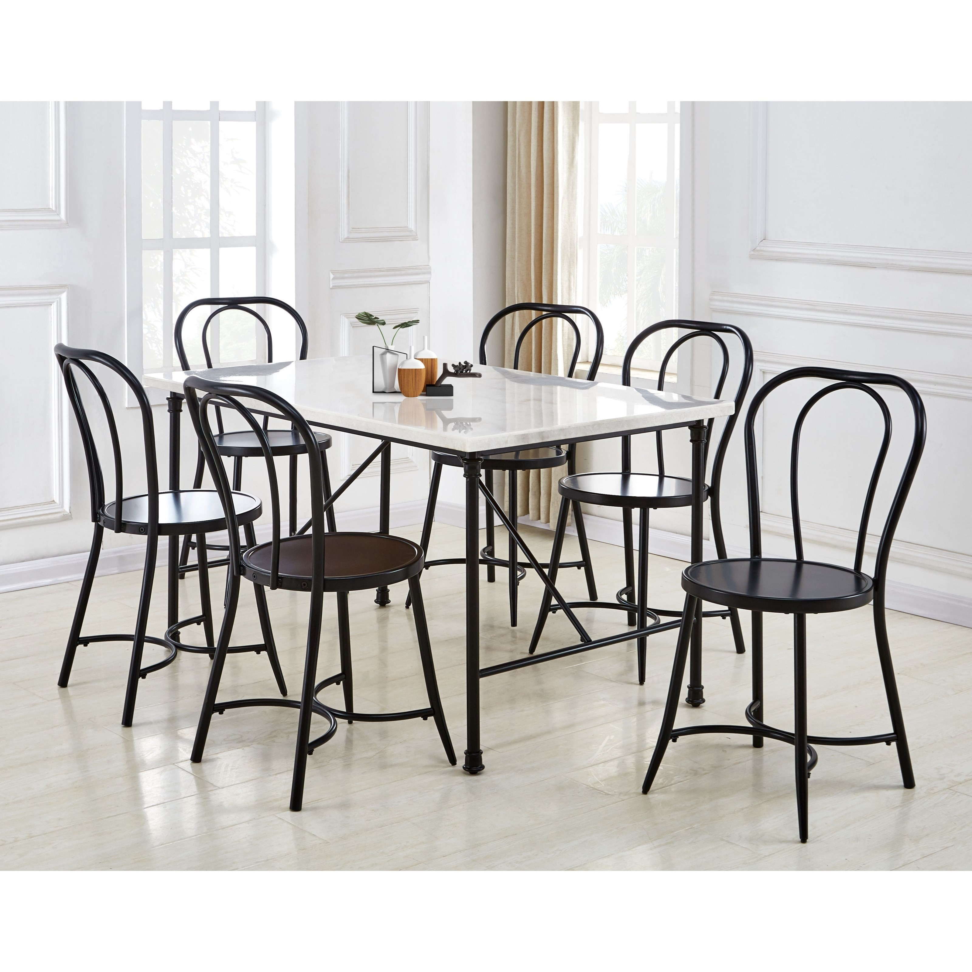 Contemporary 7-Piece Dining Table and Chair Set with White Marble Top