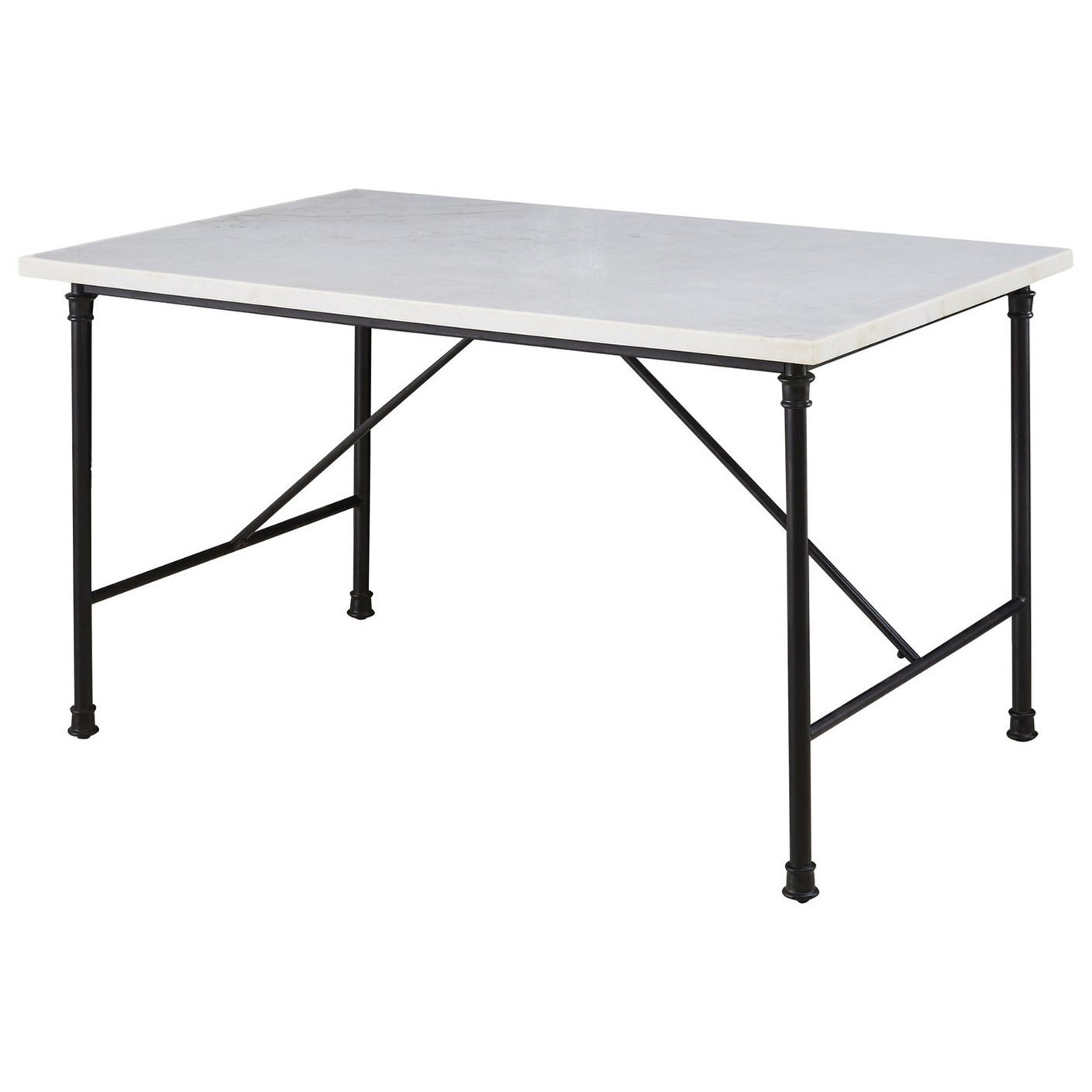 Contemporary Dining Table with White Marble Top