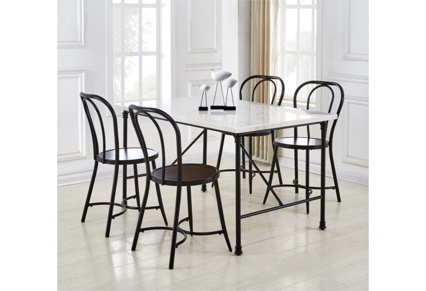 Steve Silver Claire Contemporary Dining Table With White Marble Top Van Hill Furniture Dining Tables